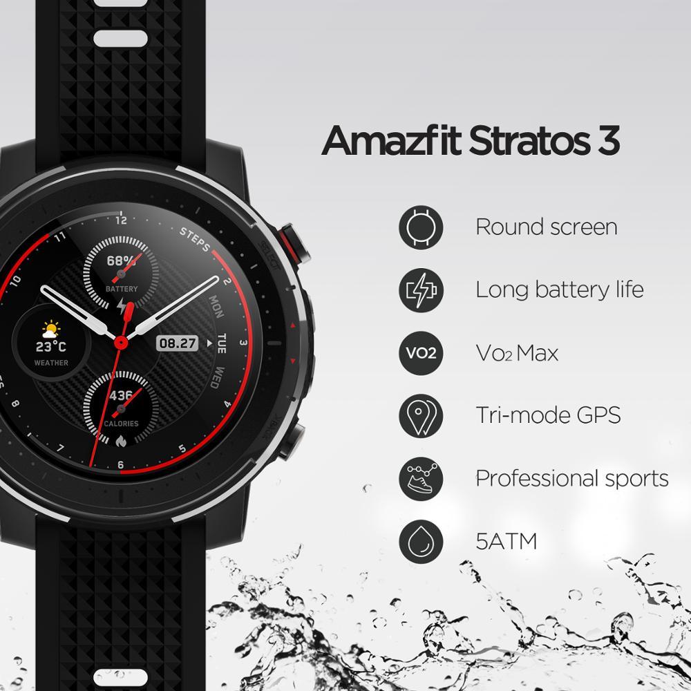 Смарт-часы Amazfit Stratos 3, глобальная версия, GPS 5 АТМ, Bluetooth, музыка, двойной режим, 14 дней работы, Смарт-часы для Android 2019-4