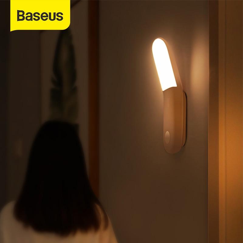 Baseus Led mouvement veilleuse corps Induction veilleuse lampe USB Rechargeable lumière magnétique capteur de mouvement lumière chambre lumière
