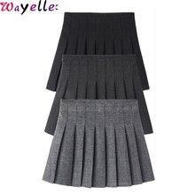 Harajuku Mini Woolen Skirt Women High Waist Pleated New Autumn Winter Windproof Solid Kawaii Lady Skirts