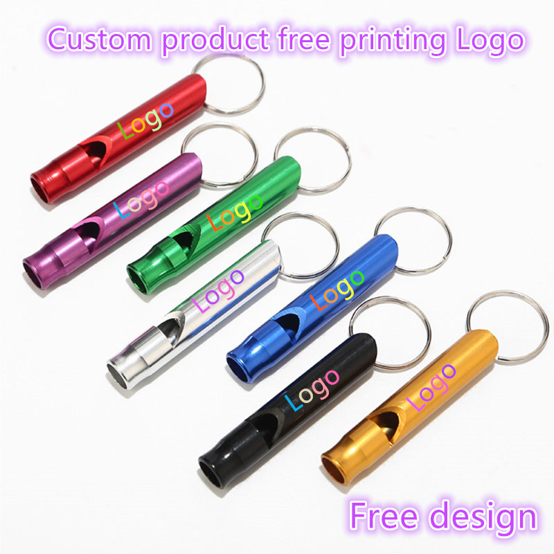 100-500PCS Custom Aluminum alloy fire fighting survival outdoor first aid and escape training whistle Free laser Logo