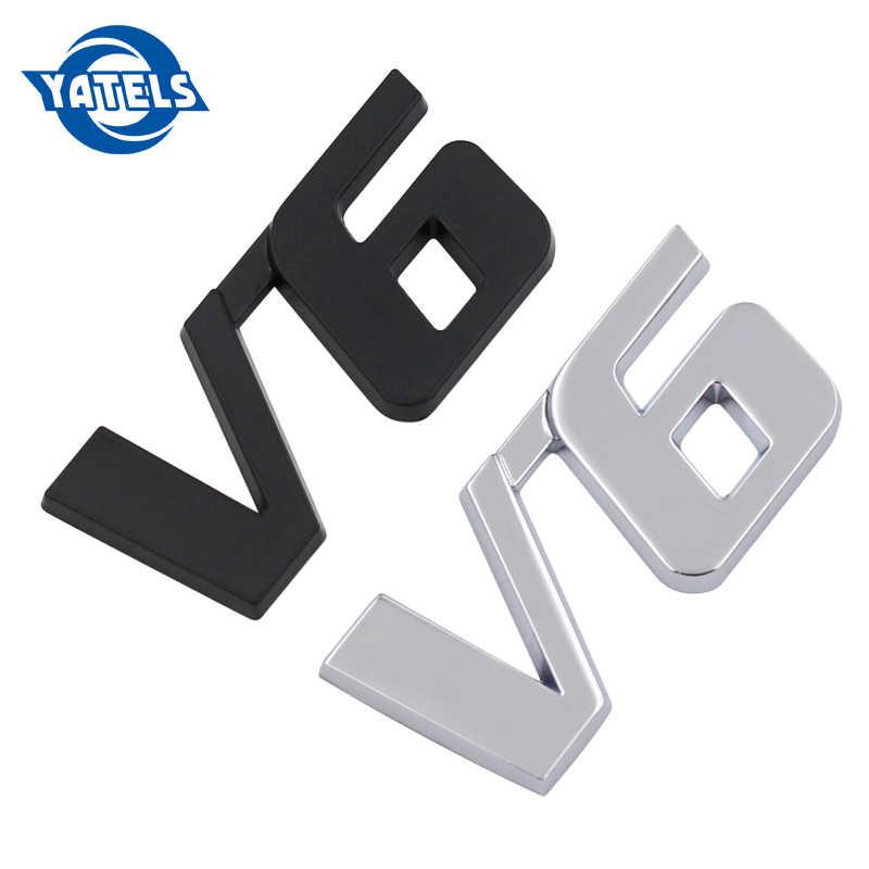 3D cromo Metal V6 coche puerta trasera pegatina tapa del maletero automático insignia calcomanía DIY belleza coche Pegatinas accesorios de estilo Exterior