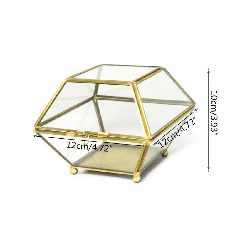 Caixa de jóias de vidro transparente geométrico planta terrário display com tampa