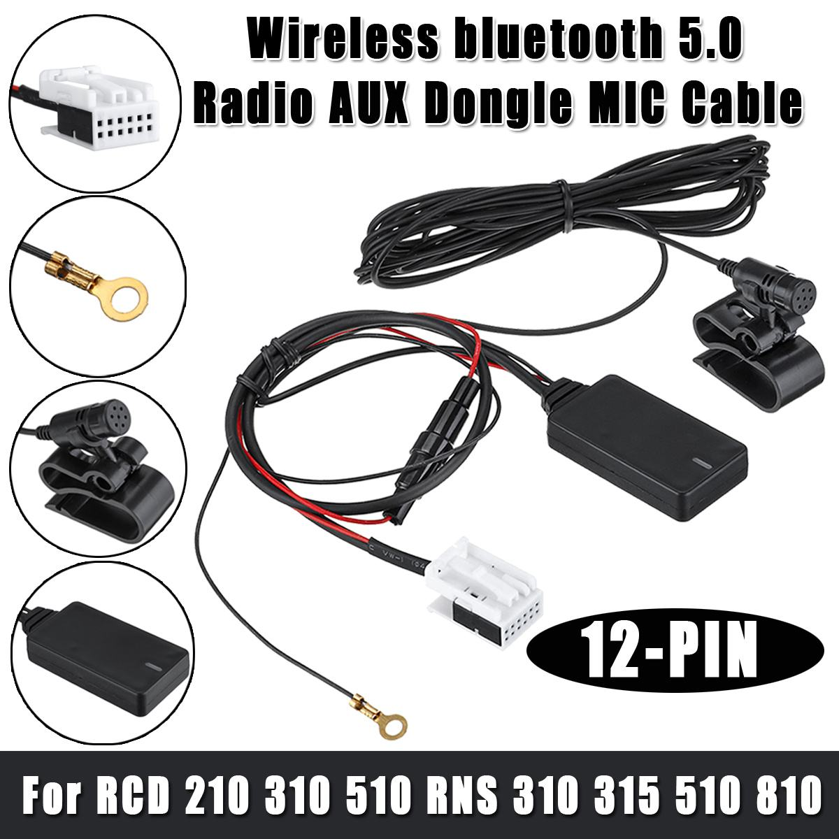 12Pin Car Hands-free Radio AUX Dongle MIC For VW For Skoda RCD 210 310 510 RNS 310 315 510 810 Wireless Bluetooth 5.0