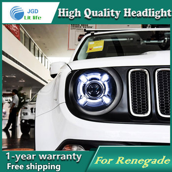 Car styling case for Jeep Renegade Headlights LED Renegade Headlight DRL Lens Double Beam HID Xenon Car Accessories