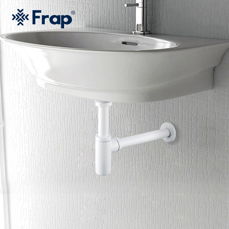 Frap White  Basin Pop Up Drain Stainless Steel Bottle Trap Bathroom Sink Siphon Drains with Pop Up Drain Kit F82-6