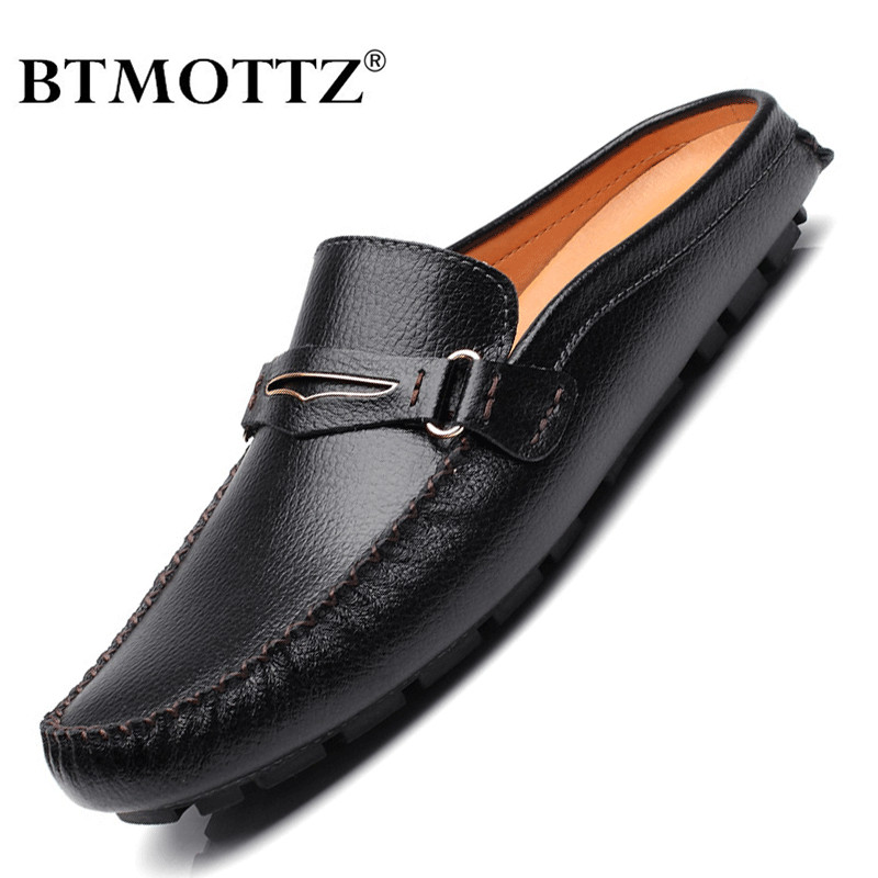 Summer Men Shoes Casual Brand Mens Penny Loafers Leather Half Slipper Breathable Slip On Lazy Driving Shoes Men Moccasins 2020