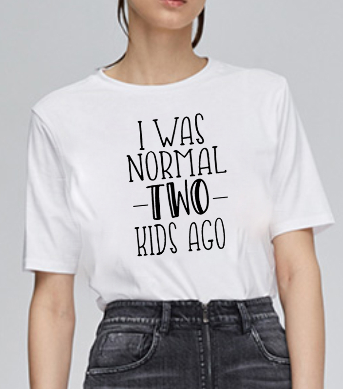 Era Normal 2 niños Camiseta Mujer manga corta algodón divertida Camiseta Mujer camisetas sueltas Mujer Acción de Gracias camisetas