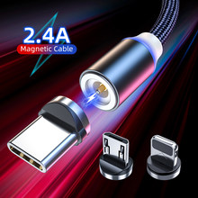 Magnetic USB Cable LED Fast Charging Micro USB Type C Cable For iPhone 12 Xiaomi Magnet Charger 3M USBC Mobile Phone Wire Cord