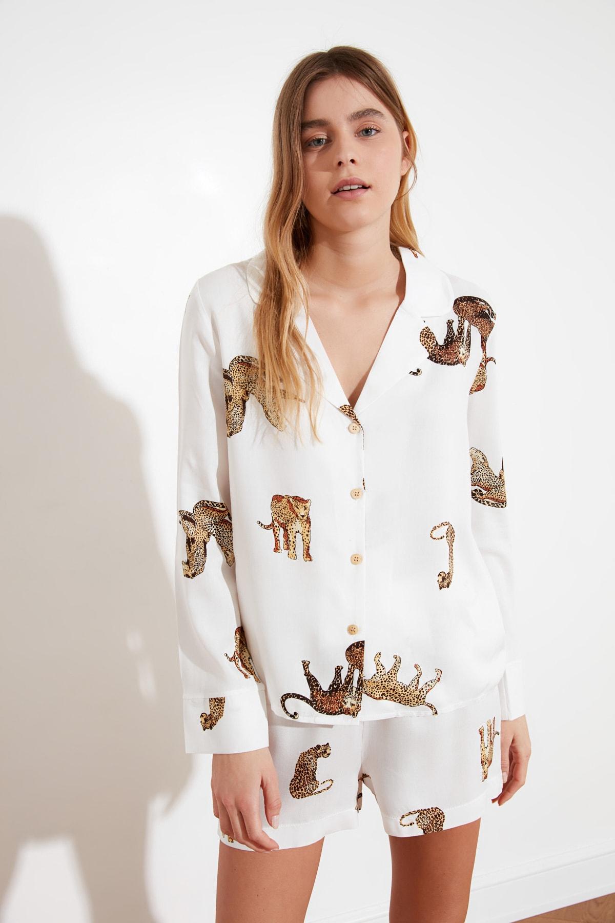 Trendyol Tiger Printed Woven Pajamas set THMAW21PT0340