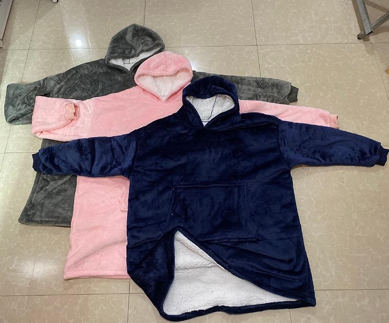 Winter Warm TV Pocket Hooded Blankets Adults Bathrobe Sofa Cozy Blanket Sweatshirt Solid Plush Coral Fleece Blankets Outwears-3