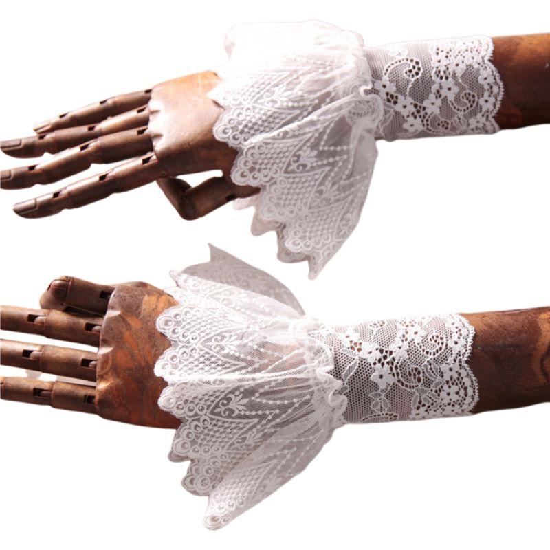 Women Lotus Leaf Fake Sleeve Floral Lace Pleated Ruffles Horn Cuffs Wrist Warmer
