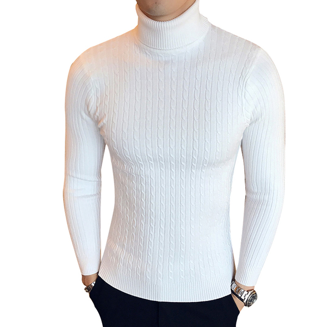 Winter High Neck Thick Warm Sweater Men Turtleneck Brand Mens Sweaters Slim Fit Pullover Men Knitwear Male Double collar 1