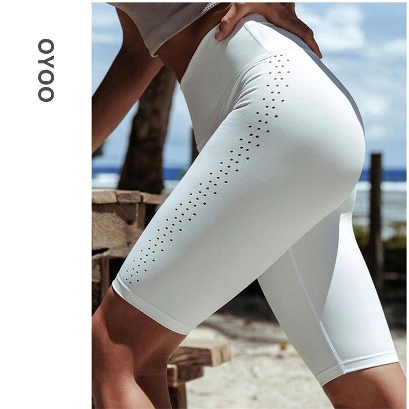 Oyoo High Waist White Yoga Running Shorts Popular Workout Biker Shorts Spandex Athletic Tights Gym Leggings Capri Fitness