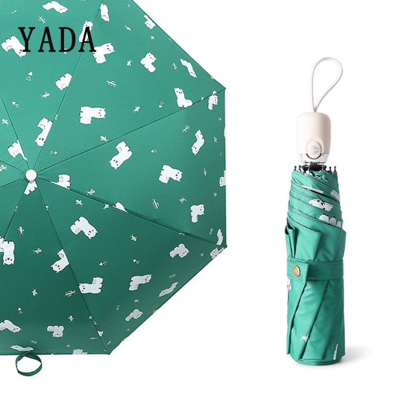 YADA Green Cartoon Alpaca Automatic Umbrella Clear Folding Umbrellas For Children Kids Women UV Rain Anime Rain Umbrella YD286