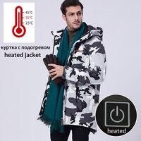 Men Winter Jacket Waterproof Electrical Heated Warm Parka Coat Long Hooded Fur Collar Camouflage Windbreaker Men Size 8XL 10XL