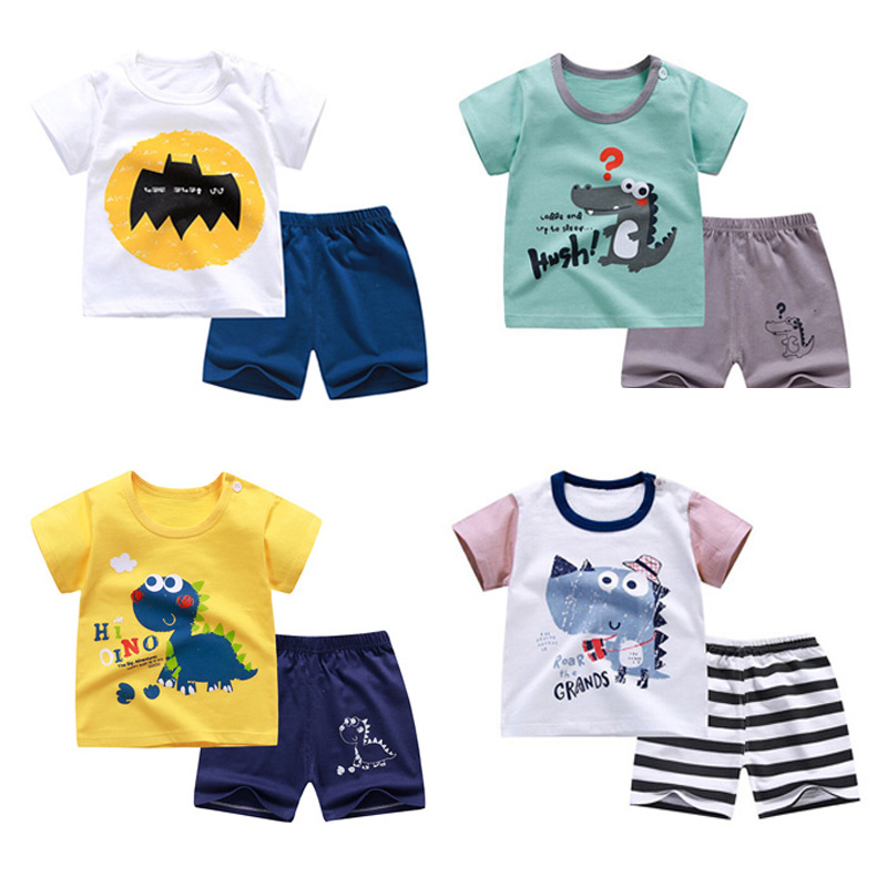 Summer Baby Girl Casual Short Sleeve Floral Print T-shirt Tops+Shorts Suits Set