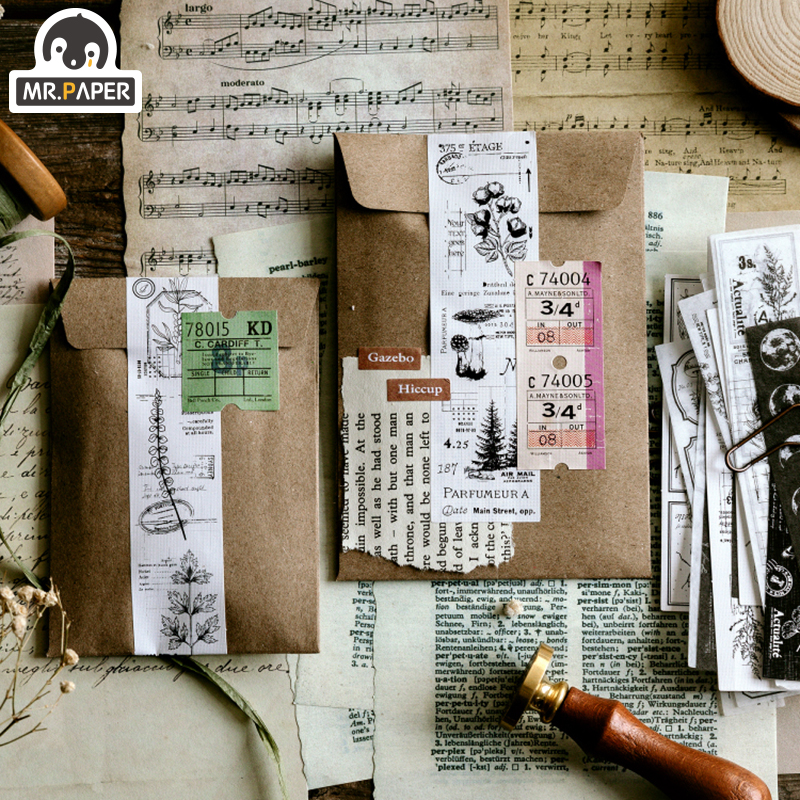 Mr.paper 30Pcs/pack 8 Designs Old Time Scenery Antique Ticket Artistic Stickers Bullet Journal Deco Stationery Children Stickers 5