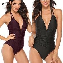 Tummy Control Swimsuit 2019 New Women Vintage One Piece Swimwear Backless Monokini Halter Bathing Suit Plus Size M-4XL