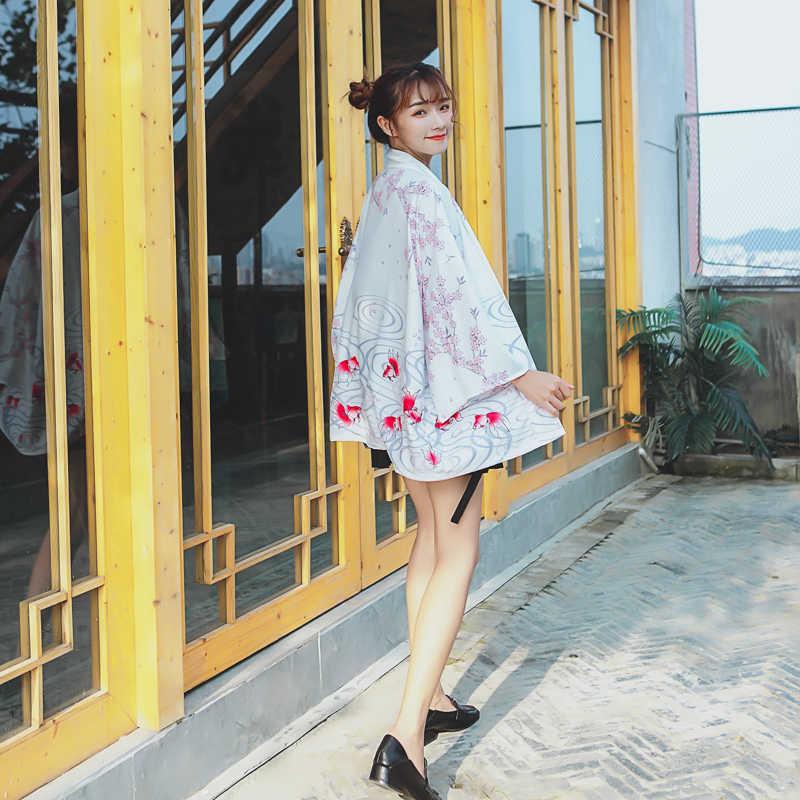 נשים חולצות קיץ 2019 אופנה יפנית קימונו זוג בגדי אובי יאקאטה נשי חוף קימונו Boho Haori קימונו Japones FF2426