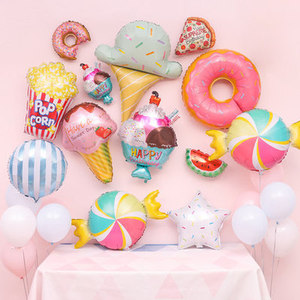 Kids Donut Ice Cream Foil Balloon Sweet Dessert Shape 18 Inch Aluminum Inflatable Balloons Children's Birthday Party Decorations