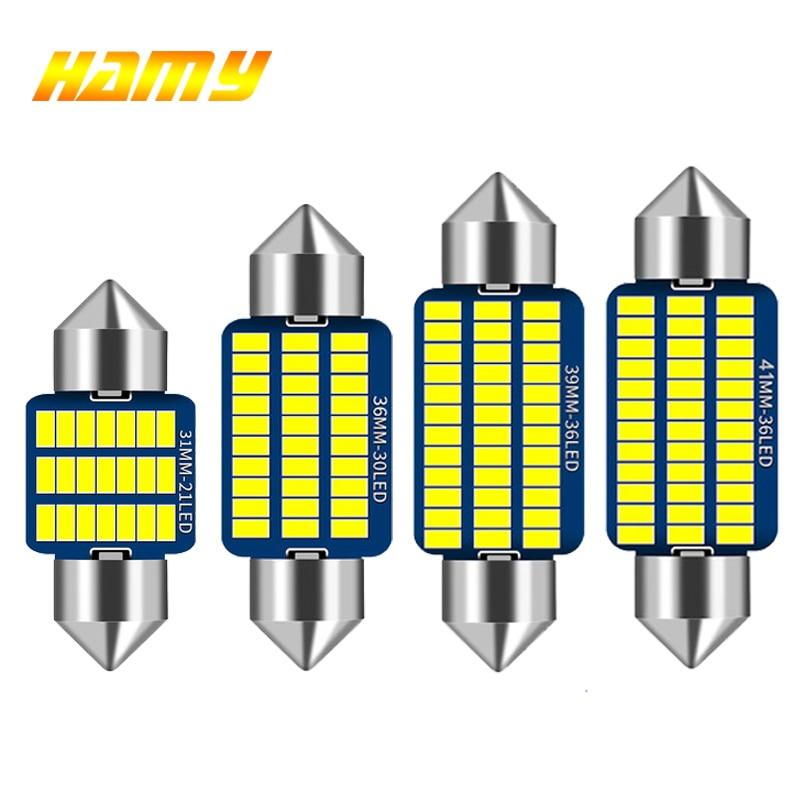 1x Festoon 31mm 36mm 39mm 41mm C5W C10W LED Bulb Canbus No Error Car Interior Reading LED Light License Plate Lamps 3014 SMD