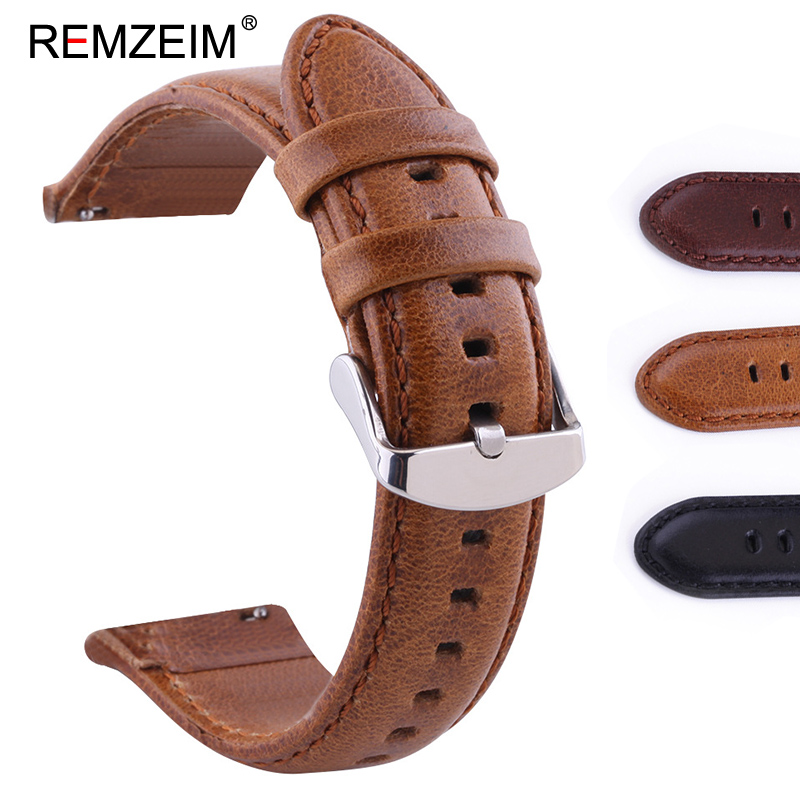 REMZEIM 18mm 20mm 22mm 24mm Double-sided Genuine <font><b>Leather</b></font> Watchband for <font><b>Samsung</b></font> Galaxy Watch 42mm <font><b>46mm</b></font> Quick Release Strap image