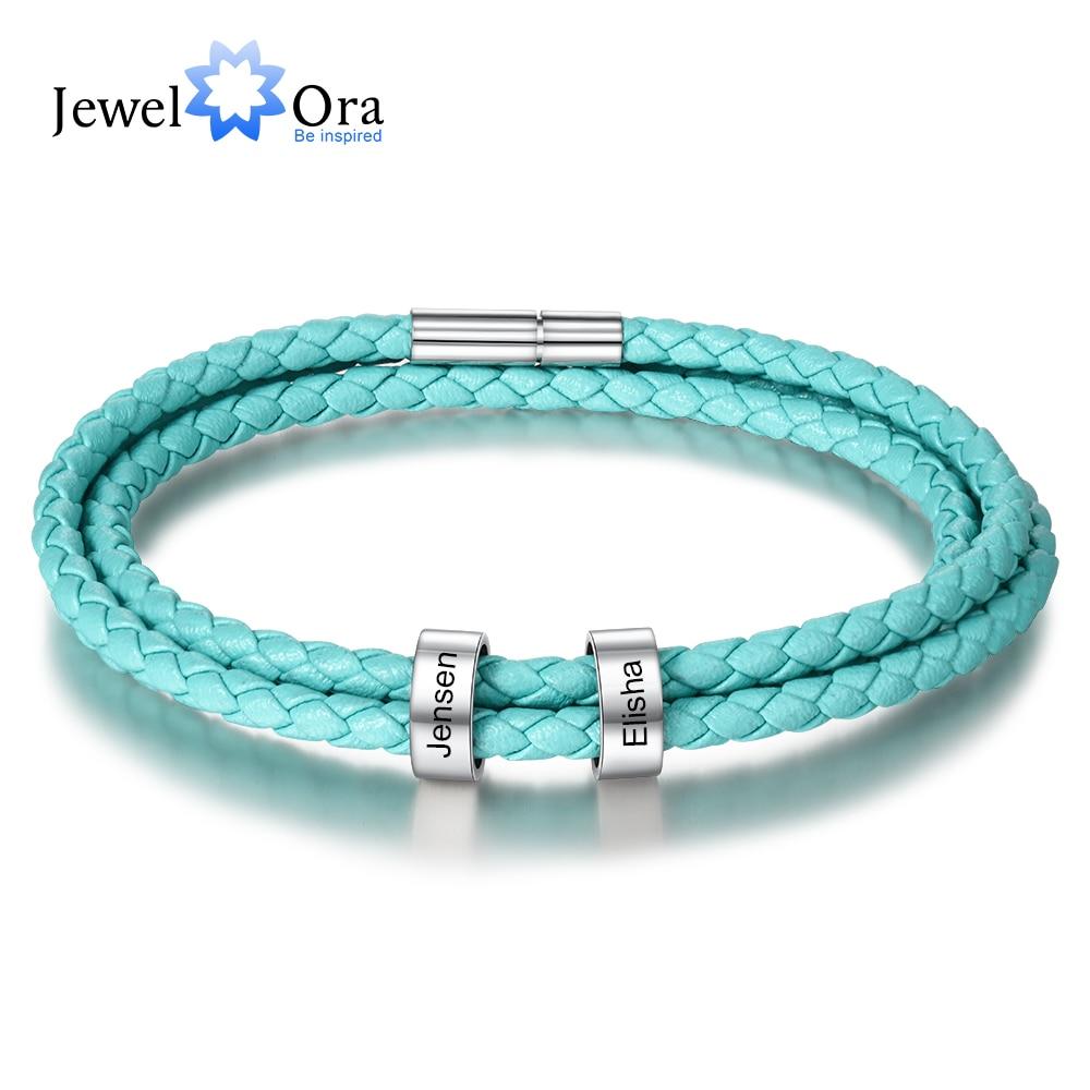 Personalized 2 Names Beads Charm Bracelets For Women Men Unisex Custom Engraving Stainless Steel Leather Bracelet Gift For Lover