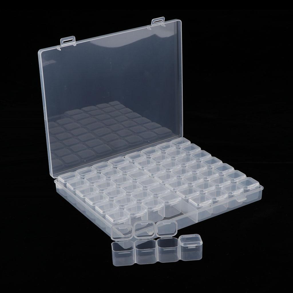 Пластиковая симпатичная прозрачная коробка для хранения с 56 сетками, ювелирное изделие для дизайна ногтей, бусинки для таблеток, мини-Чехол, ювелирный дисплей-5