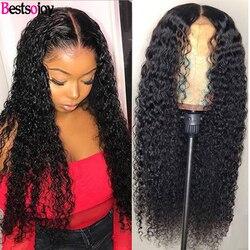 Bestsojoy 360, peluca Frontal de encaje, pelucas de cabello humano rizado para mujeres, pelucas de cabello humano rizado 13x6 con encaje Frontal, cabello humano Remy brasileño