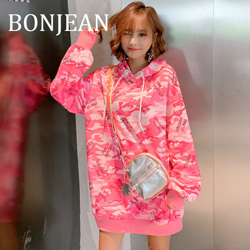 BONJEAN Print Hooded Sweatshirts For Women 2019 Autumn Tops And Pullovers Long Loose Sweatshirts Print Pink Sweatshirts BJ1673