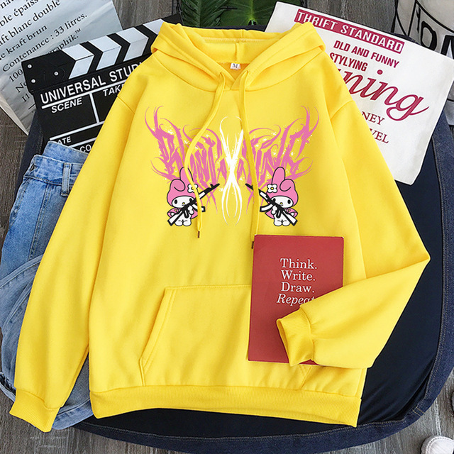New mymelody dark women's hooded long-sleeved trendy gothic style plus cashmere winter Harajuku style hooded sweatshirt 4