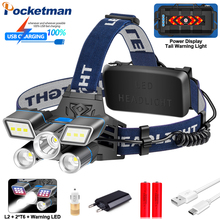 Red Blue White Light 9 Modes LED Headlamp L2+ 2*T6 LED Waterproof Headlight USB Rechargeable Head Light with Tail Warning Light
