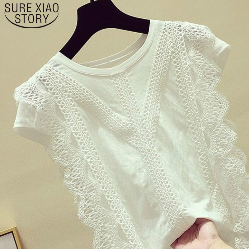 Korean Summer 2020 Fashion Clothing Solid Shirt Women Blouse Womens Tops And Blouses Lace Patchwork Blusas Plus Size 4835 50