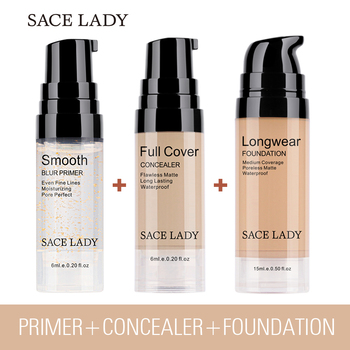 SACE LADY Face Base Makeup Set Smooth Primer Matte Foundation Full Cover Concealer Make Up Oil Control Cosmetic Wholesale
