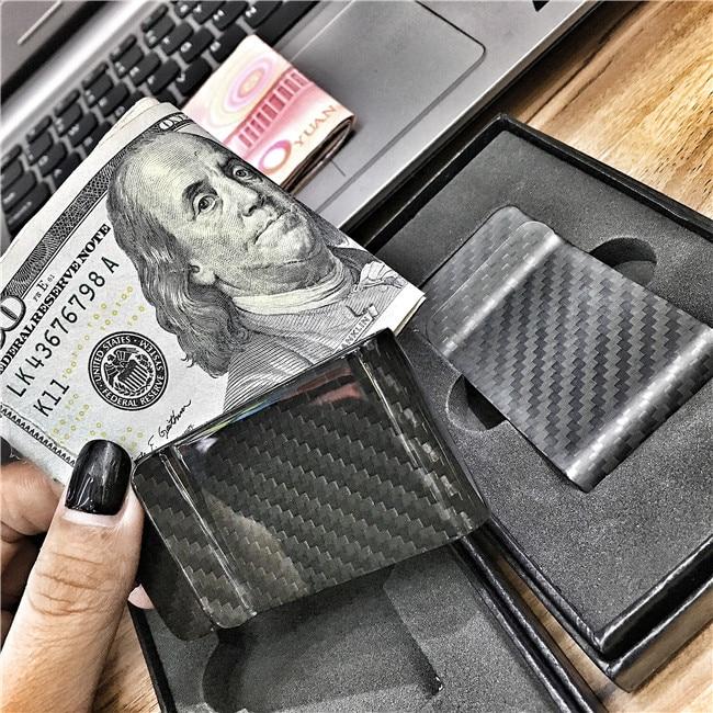 3K Full Carbon Fiber Wallet Money Clip 100% Pure Carbon Fiber Aviation Material Ultra thin Wallet Banknote Clip Simple Wallet Outdoor Tools     - title=