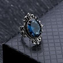 Винтажное женское кольцо с голубым овальным камнем, серебряное кольцо с цветком, Женское кольцо в этническом стиле, Ретро ювелирные изделия, роскошные вечерние кольца для помолвки, ADR005