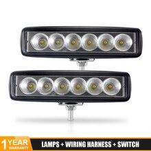 цена на DERI 6inch LED Work Light Bar 18W 6000k White Flood Spot Beam Work Lamp for Truck ATV SUV 4WD Off Road Daytime Running Light