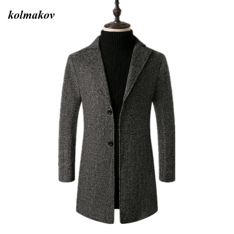 2020 New Arrival Winter Style Men Boutique Woolen Coat Fashion Casual Solid Single Breasted Woolen Trench Coat Dress Size M-5XL