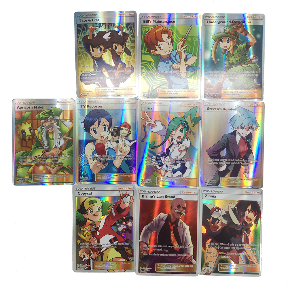 Takara Tomy Pokemon Cards TCG 100PCS GX MEGA Trainer Energy Cover Flash Card Sun Moon Card Collectible Gift Children Toy