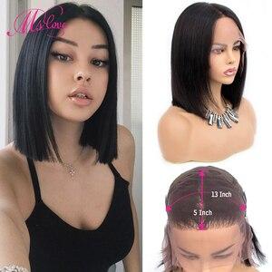 Pelucas frontales de encaje 13X5 de 12 pulgadas con Bob corto Frontal de encaje pelucas de cabello humano con frente de encaje recto pelucas brasileñas para mujeres no Remy