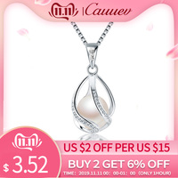 Cauuev genuine 100% Natural freshwater Pearl Jewelry Hot Selling 925 Sterling Silver Pendant Necklace gift For Women Female Jew