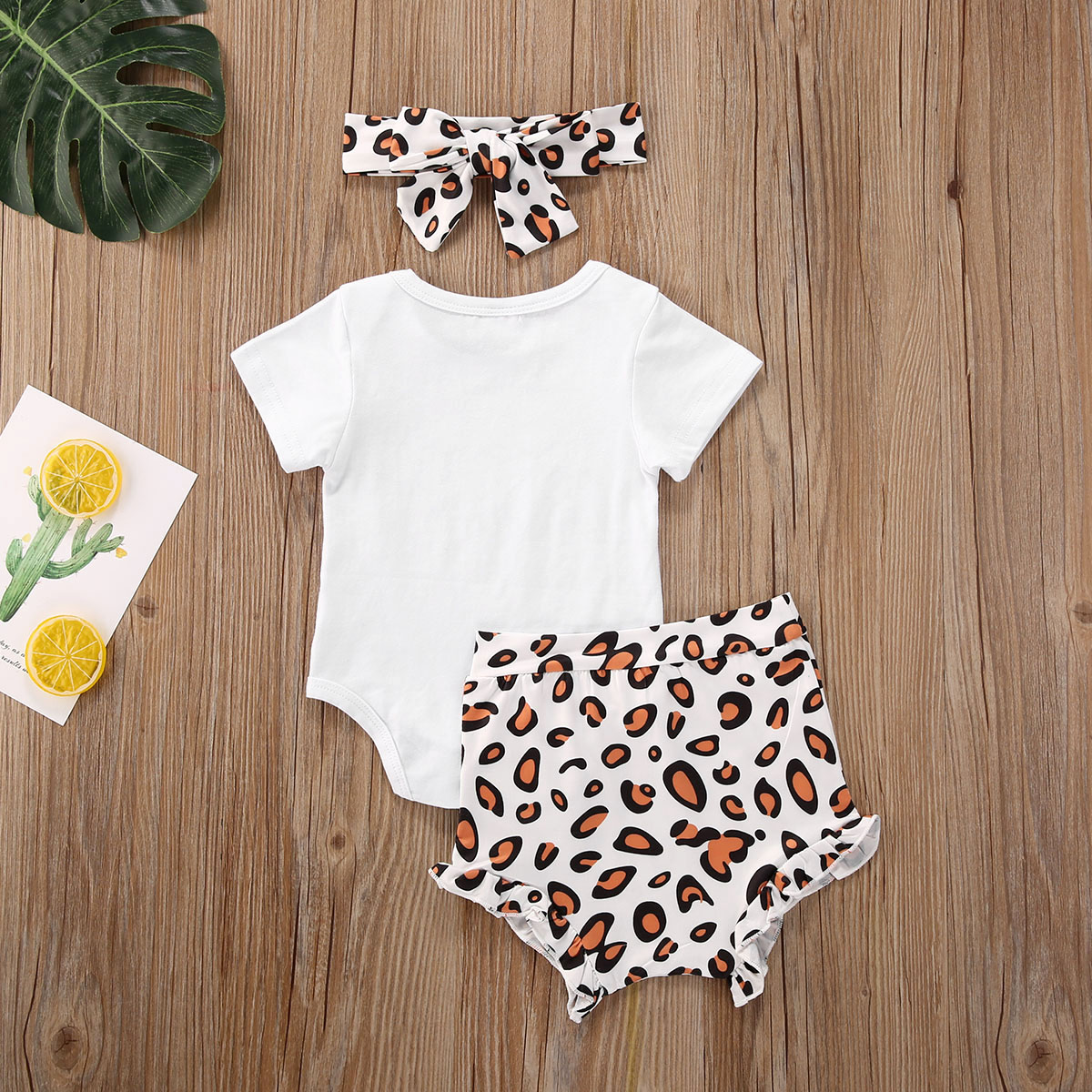 Pudcoco Fast Shipping 0-18M Newborn Toddler Infant Baby Girls Clothes Short Sleeve Bodysuit Top Leopard Pants Leggings Set