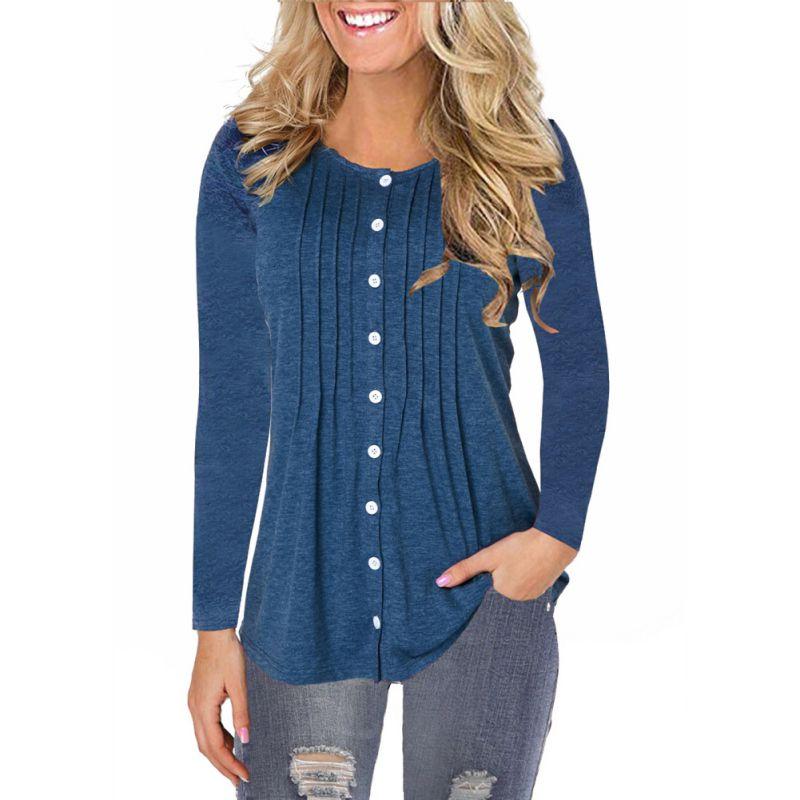 Automne femmes Blouses à manches longues col rond bouton solide plissé tops tuniques chemises blusas feminina Haut Femme grande taille