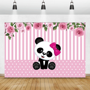 Image 3 - Laeacco Birthday Photography Backdrops Pink White Stripes Flowers Panda Bamboos Photographic Backgrounds Baby Shower Photocall