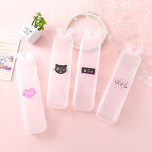 Simple Transparent Pencil Case Rabbit Ear Multifunctional Pencil Box Plastic Storage Box Learning Stationery Office Supplies(China)