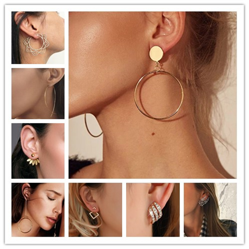 2020 New Fashion Charm Gold Color Geometric Stud Earring Romantic Love Earrings Women's Fashion Oorbellen Jewelry Accessories