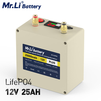 LiFePO4-Paquete de batería de ciclo profundo, 12V, 25Ah, 50A, BMS integrado con salida USB para fuente de alimentación de respaldo de Golf