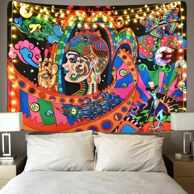 UK Psychedlic Mandala Tapestry Hippie Room Wall Hanging Blanket Art Home Decor Psychedelic Background Tapestry 95x73CM Brushed