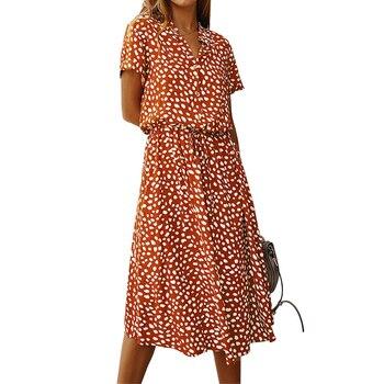 Ladies Bohemian Leopard Print Shirt Dress 5