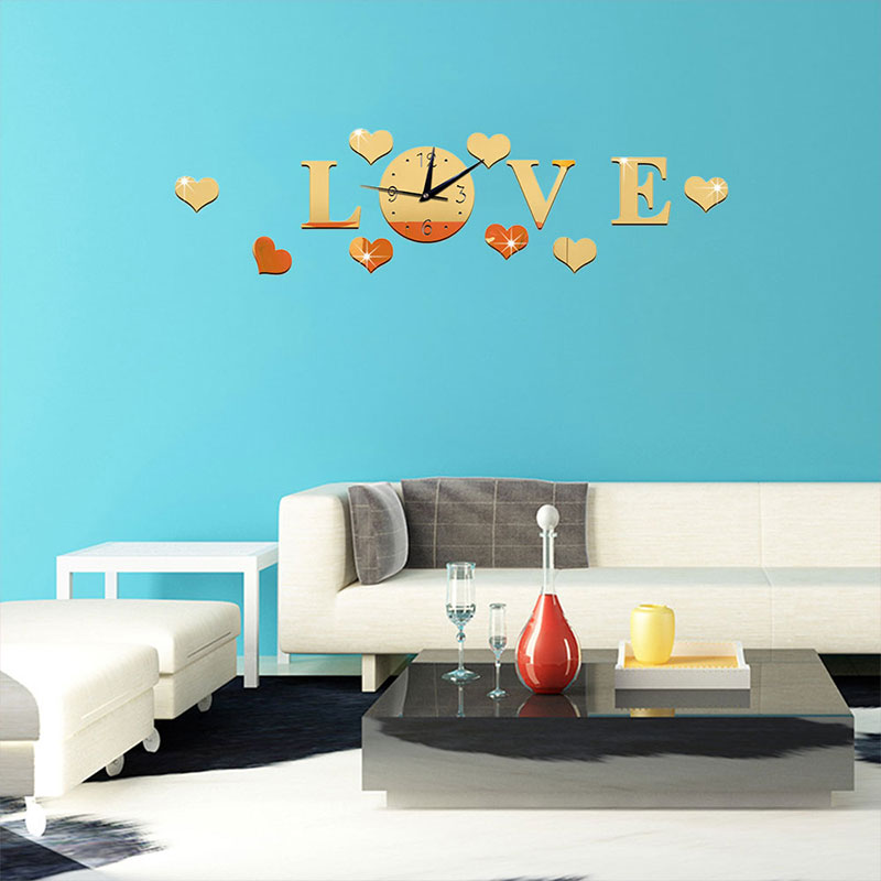 Mirror Stickers Decor Acrylic Glass Clock Watch Home Decal Clock 3D DIY Silver LOVE Wall Sticker Room Color Romantic Decoration